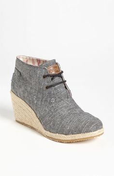 TOMS 'Desert' Chambray Wedge Bootie | Nordstrom. How cute are these?