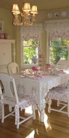 dining areas, breakfast rooms, dining rooms, shabby chic style, dine room, shabbi chic, pink kitchens, cottages, cottage style