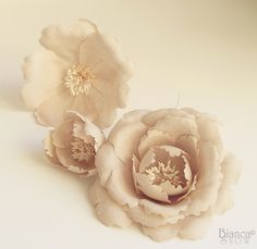 some handmade flowers I made with beautiful warm neutral linen
