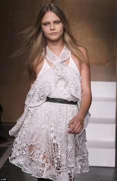 Supermodel Cara Delavingne on the Paris Fashion Week runway for Givenchy Spring Summer 2015