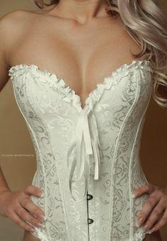 Beautiful white corest Wedding night sinfulness ;-)