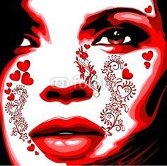 Girl's Portrait Love Tatto-Vector © bluedarkat