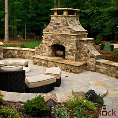 outdoor fireplace with built in grill | FireRock Outdoor Fireplace | Fire Rock