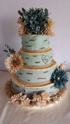 Rustic birch burlap wedding cake