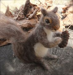 Needle Felted Squirrel Grey, Poseable