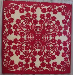 red on white Hawaiian quilt