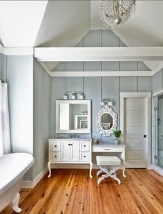 Benjamin Moore Tranquility, trim and cabinets are Sherwin Williams Roman Column