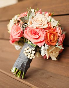 peach coral wedding flower bouquet, bridal bouquet, wedding flowers, add pic source on comment and we will update it. www.myfloweraffair.com can create this beautiful wedding flower look.