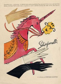 Schiaparelli glove advertisement by Andy Warhol. #vintage #gloves #art #ads