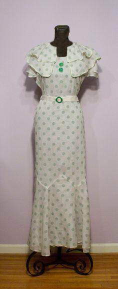 1930's White Organdy Green Dot Deco Dress
