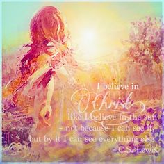 I believe in Christ like I believe in the sun~ not because I can see it, but by it I can see everything. CS Lewis