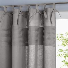 Linen Tab Top Curtain, 5 Colours Grey+Brown+Grey+White+Purple/lilac