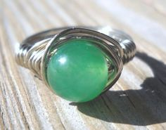 Green Aventurine Wrapped Silver Wire Ring Size 5 | pavlos - Jewelry on ArtFire