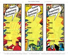 Comic Superhero Invitation {INSTANT DOWNLOAD} Dunham Design Company