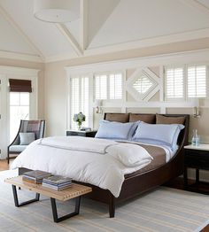 A detailed ceiling brings sophistication and drama to your master bedroom! More master bedroom ideas: http://www.bhg.com/rooms/bedroom/master-bedroom/master-bedroom-ideas/?socsrc=bhgpin112813bedroomceilingideas&page=10