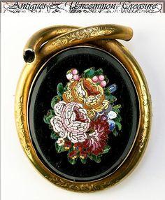 Antique Victorian Micro Mosaic Brooch