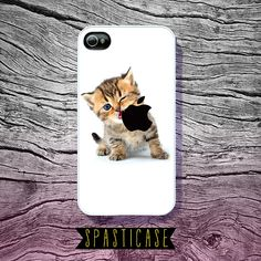 Cute iPhone Case , iPhone 4 Case, iPhone 4S Case, Kitten Eating Apple Logo, iPhone 5 Case, iPhone 5S Case, iPhone Cover