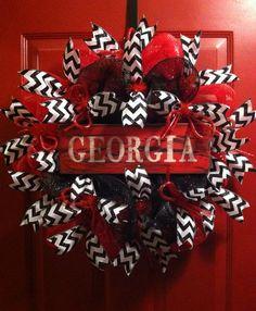 Georgia Bulldogs Football Deco Mesh Wreath, SEC, Bulldogs,  on Etsy, $58.00