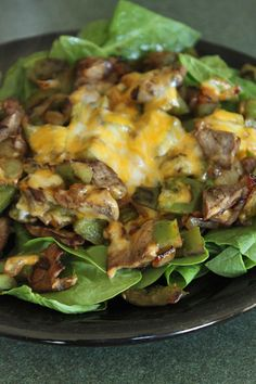 Using Leftovers:  Cheesesteak Spinach Salad