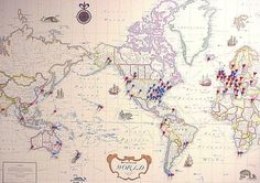 For the world traveler, include a map with pins of all the places they visited.   #funeral ideas, #memorial ideas, #funeral memory table, #memory table, #life celebration ideas