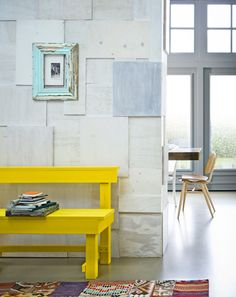 bright, modern yellow + natural stone + vintage worn teal