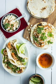 Shrimp and Elotes Tacos - Make it GF by using Udi's GF tortillas!