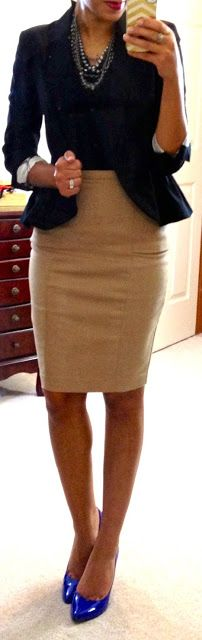 Hello, Gorgeous!: H top, Zara pencil skirt, H peplum jacket, LOFT necklace, Target Mossimo pumps #workwear