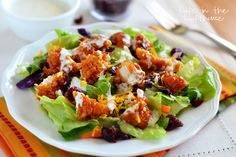 Wingers Sticky Chicken Fingers Salad - You can use the boneless chicken wings from the Walmart Deli and it works great.