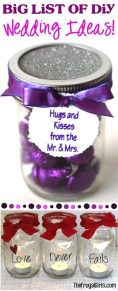 BIG List of DIY Wedding Ideas! ~ from TheFrugalGirls.com - get loads of inspiration for weddings including decorations, favors, flowers, crafts, food, decor, honeymoons and more! #thefrugalgirls