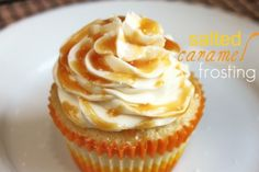 Salted caramel frosting  vanilla bean #cupcake #recipe from @createdbydiane - get the #milk ready! #butter #CADairy