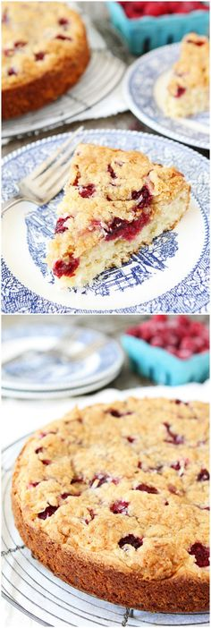 Raspberry Coconut Cake with Coconut Streusel Recipe on twopeasandtheirpod.com Love this simple summer cake! #cake