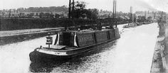 """Captioned: """"London Steam Tug ANTELOPE towing a train of gravel boats on the Paddington Arm of the Grand Union Canal in early 20thC""""  #steam #canal #tug #antelope #London #gravel #wideboat #Paddington #Regents #arm #western #cartage #hillingdon #middlesex #barge"""