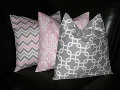 """Nursery Pillows Decorative Pillows TRIO Chain Link, Damask, Chevron 16x16 inch Throw Pillow Covers gray 16"""" storm grey, baby pink, white"""