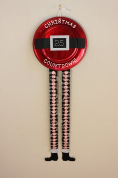 """Christmas Countdown Santa Plate:  Red Charger Plate w/ Chalkboard Santa Belt, Hand Painted """"Christmas Countdown!"""" & Candy Countdown Boots! by SnappyPea"""