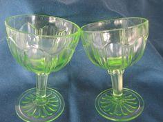 Vintage Green Vaseline Uranium Barware Stemmed Wine by BitofHope