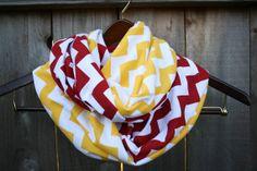 Infinity Scarf // Red/Yellow Chevron Jersey Knit // Kansas City Chiefs or Iowa State Cyclones!!! jersey knit, woman fashion, infinity scarfs, iowa state cyclones, florida state seminoles, kansas city chiefs, infin scarf, chevron jersey