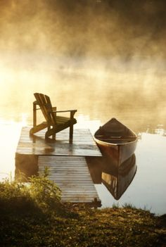 adirondack chairs, early mornings, dream, morning coffee, lake, place, boat, cup of coffee, cano