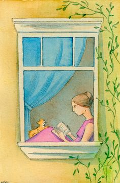 Original 4x6 Painting -- Reading by the window. This art piece was done with watercolor and pen & ink on quality Fabriano watercolor paper. It has also been protected with an acrylic varnish. See more artwork at nicole-wong.com. all images © by Nicole Wong http://www.etsy.com/listing/154527156/original-4x6-painting-reading-by-the?ref=shop_home_active