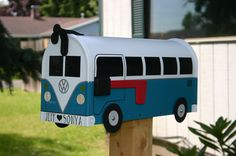 Teal Volkswagen Bus Mailbox by TheBusBox Custom made  by TheBusBox, $99.00