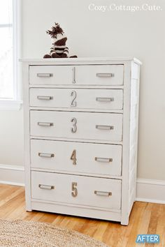 beautiful numbered dresser makeover