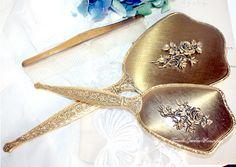 Vintage Matson 3 Piece Vanity Set Hand Mirror Gold R