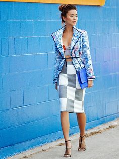 Summer Outfits Styled By Jamie Chung -  Isabel Marant Olaz Jacket; Reformation Clinton Two Piece in Hula (wearing only top); 10 Crosby Derek Lam Check Pencil Skirt; Kurt Geiger Octane Fold Over Bag in Blue; Shoe Cult Flux Sandals in Grey/Black.