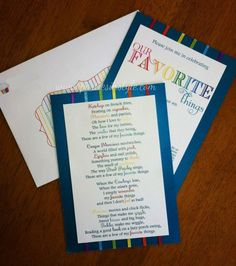 My Favorite Things Party invitation