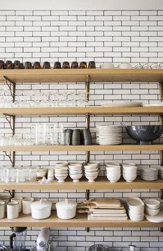 Accessorizing exposed kitchen shelving