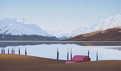 Brian Dahlberg // Lake Ohau, South Canterbury  Oil on canvas, 55 x 90  #Art #Landscape #Oil #Painting #NewZealand