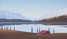 Brian Dahlberg // Lake Ohau, South Canterbury  Oil on canvas, 55 x 90  #Art #Landscape #Oil #Painting #NewZealand
