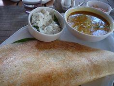 South Indian Style, Dosa and Sambhar and Coconut Chutney