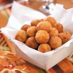 Fried bacon, cheddar & mashed potato balls.  These would be great served with a variety of sauces.