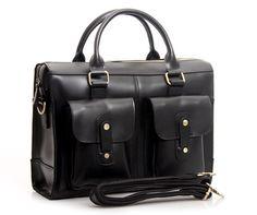 Handcrafted Leather Briefcase / Messenger / Laptop / Mens Bag in Vintage Black