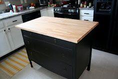DIY   dresser and ikea butcher block top
